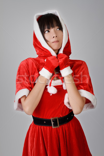 Foto stock: Natal · menina · asiático · olhando · cinza · estúdio