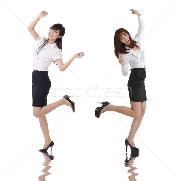 Boldog üzlet nők tánc fehér iroda Stock fotó © elwynn