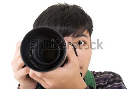 Jóvenes amateur fotógrafo Asia mantener cámara Foto stock © elwynn