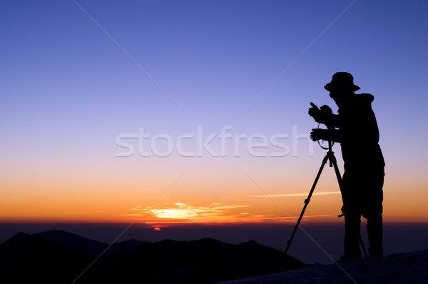Outdoor photographer silhouette Stock photo © elwynn