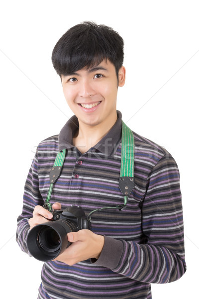 Młodych amator fotograf asian utrzymać kamery Zdjęcia stock © elwynn