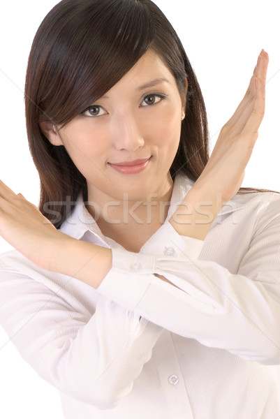 No gesture of Asian business woman on white background. Stock photo © elwynn