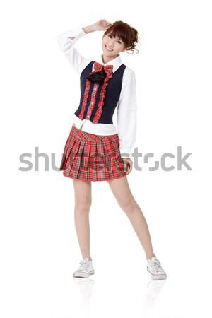 Sevimli okul öğrenci kız Asya poz Stok fotoğraf © elwynn