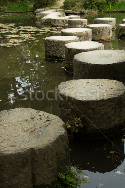 Zen pedra caminho santuário japonês jardim Foto stock © elwynn