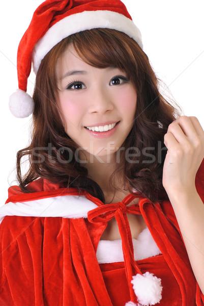 Opgewonden christmas meisje halve lengte portret Stockfoto © elwynn