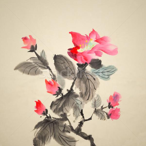 Festmény kínai hagyományos tinta piros virágok művészet Stock fotó © elwynn