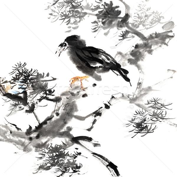 çin Boyama Kuş Geleneksel Mürekkep Stok Fotoğraf Peng