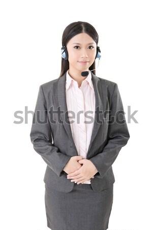 Alegre feminino telefone operador retrato Foto stock © elwynn