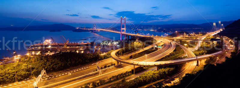 panoramic night scenes of Tsing Ma Bridge in Hong Kong Stock photo © elwynn