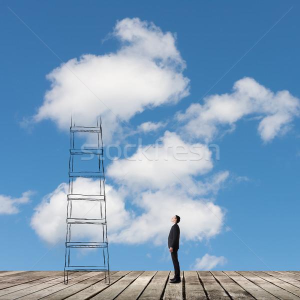 Accès nuages homme escalier affaires affaires Photo stock © elwynn