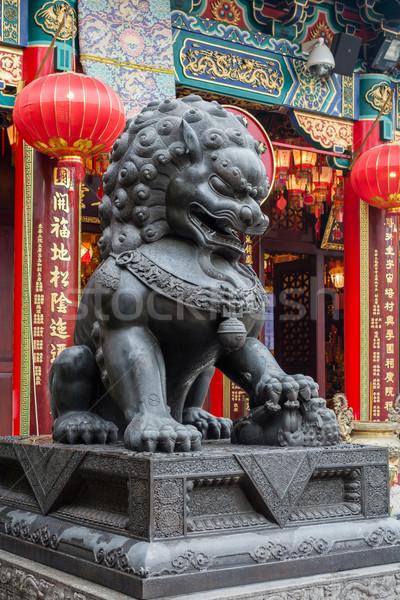 León estatua pecado templo Hong Kong Asia Foto stock © elwynn