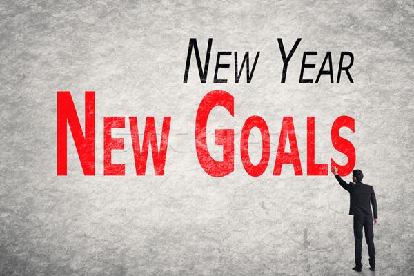 write words on wall, New Year New Goals Stock photo © elwynn
