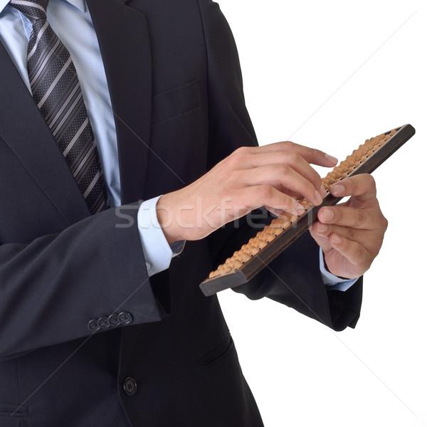 Uomo d'affari abaco cinese tradizionale finanziaria strumento Foto d'archivio © elwynn