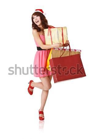 Feliz compras menina sacos caixa de presente Foto stock © elwynn