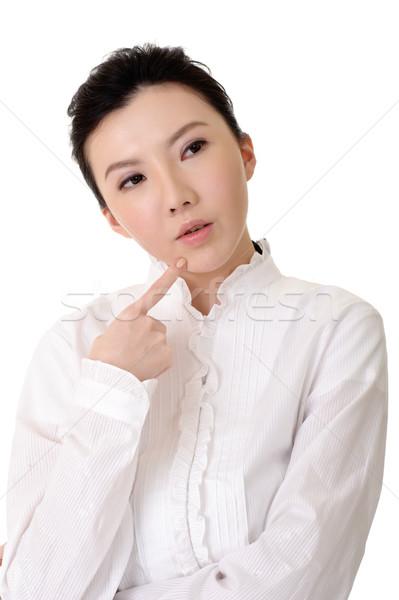 Сток-фото: китайский · деловой · женщины · мышления · портрет · белый