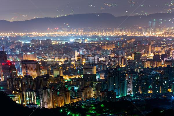 Night City scena biuro budynku miasta panoramę Zdjęcia stock © elwynn