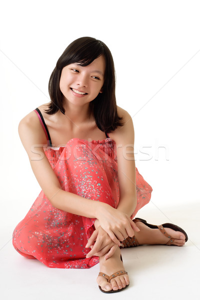 Happy smiling young girl Stock photo © elwynn