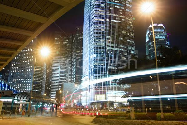 夜景 建物 光 車 運動 ぼやけた ストックフォト © elwynn