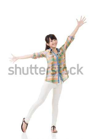 Asian woman stretch arms and feel free Stock photo © elwynn