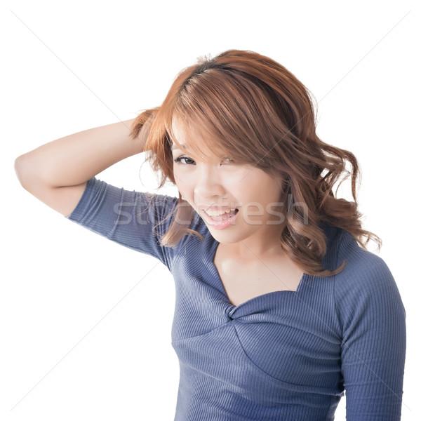 Asian twarz kobiety portret kobieta smutne Zdjęcia stock © elwynn