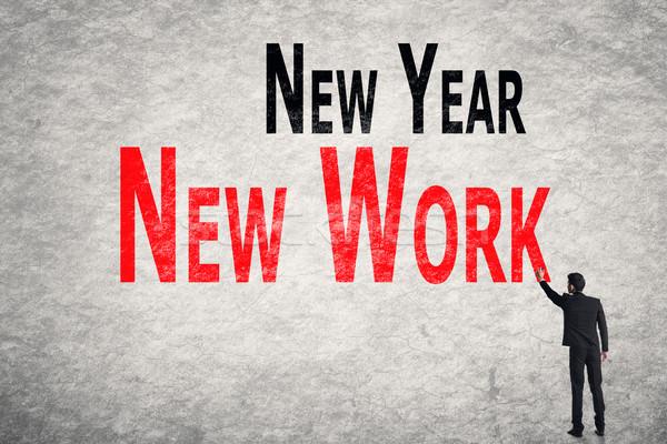write words on wall, New Year New Work Stock photo © elwynn