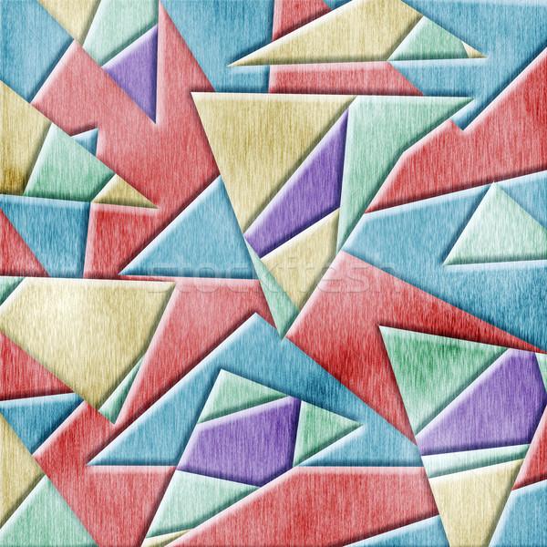 Kubisme houten abstract natuur achtergrond Stockfoto © elwynn