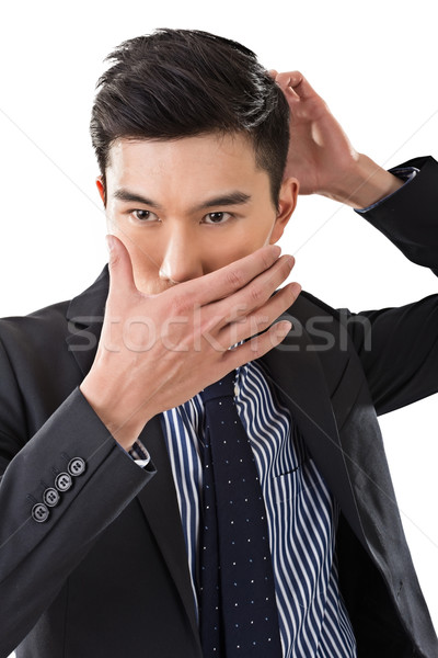 Stock photo: man put hands on face