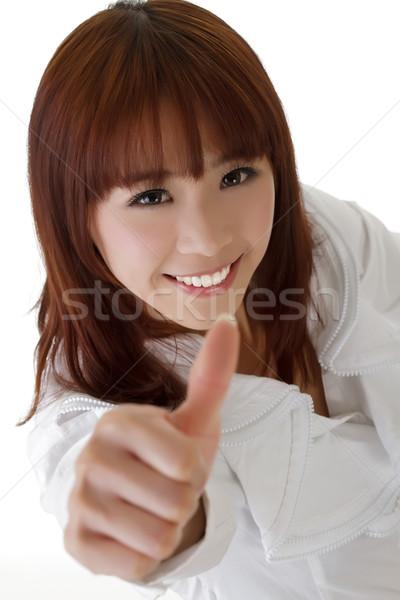 Attrattivo donna d'affari dare ottimo segno bianco Foto d'archivio © elwynn