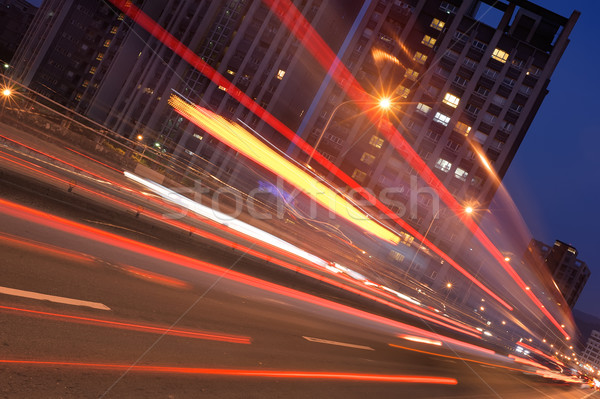 Night City scena samochodu ruchu zamazany Tajwan Zdjęcia stock © elwynn