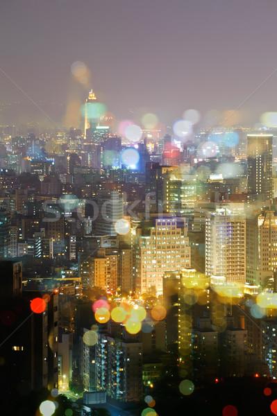 Kleurrijk City Night scène licht Taiwan asia Stockfoto © elwynn