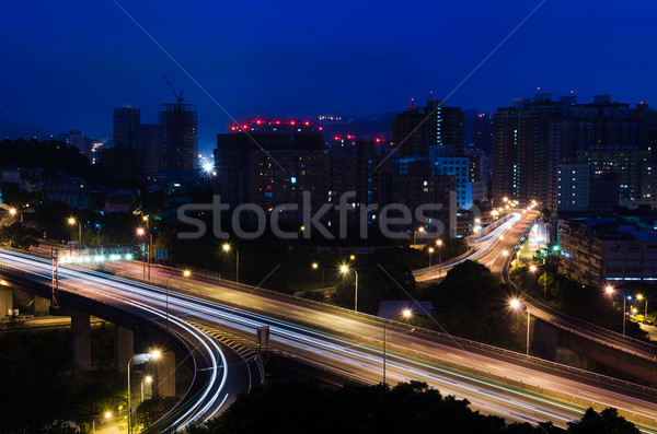 City night scene in Taipei Stock photo © elwynn