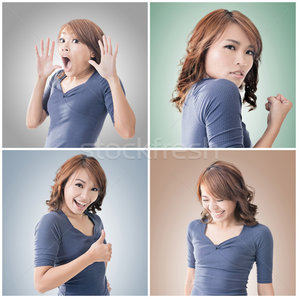 ázsiai női arc gyűjtemény közelkép portré nő Stock fotó © elwynn