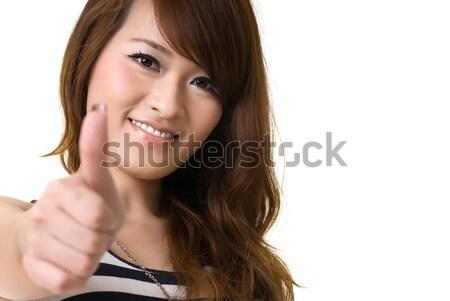 азиатских женщину давать отлично знак копия пространства Сток-фото © elwynn