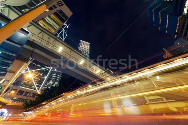 City Night auto licht moderne Hong Kong asia Stockfoto © elwynn
