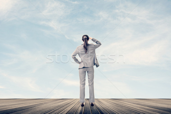 Concept of success with businesswoman Stock photo © elwynn