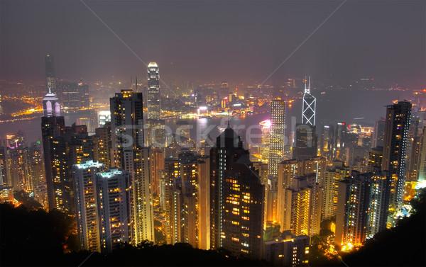 Kolor Night City budynku panoramę wieżowiec Hongkong Zdjęcia stock © elwynn