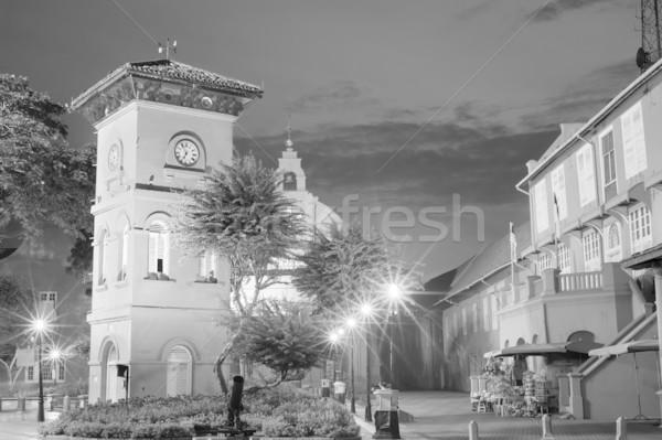 Night City słynny placu czarno białe Malezja asia Zdjęcia stock © elwynn