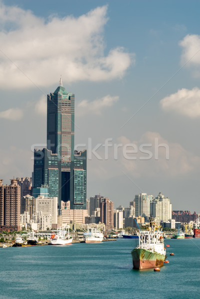 Cityscape of harbor Stock photo © elwynn