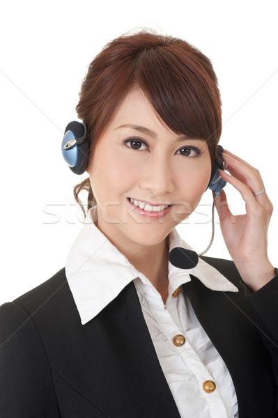 Aantrekkelijk asian business secretaris lachend gezicht Stockfoto © elwynn