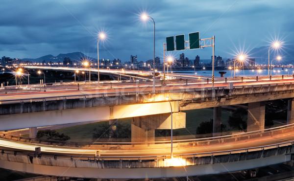 interchange with cars light Stock photo © elwynn