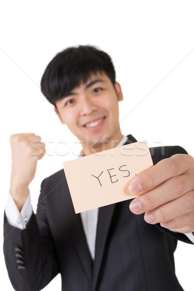 Ja teken asian zakenman kaart Stockfoto © elwynn