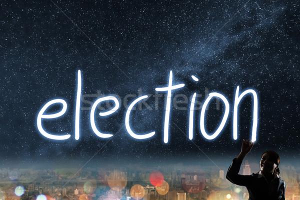 Votar eleição democracia silhueta asiático mulher de negócios Foto stock © elwynn