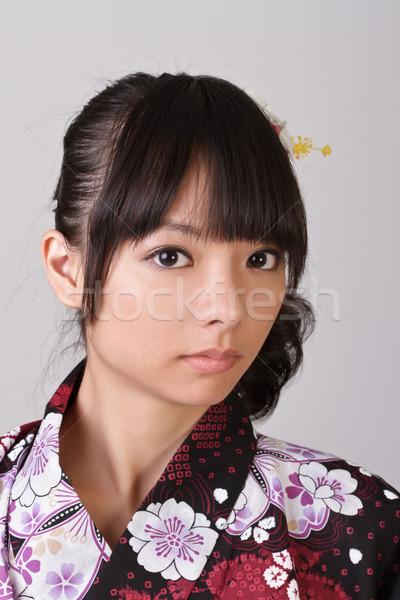 Stockfoto: Eenzaam · japans · meisje · gezicht · portret