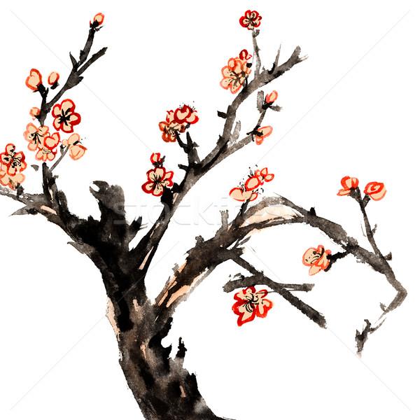 Erik çiçek çin Geleneksel Mürekkep Boyama Stok Fotoğraf