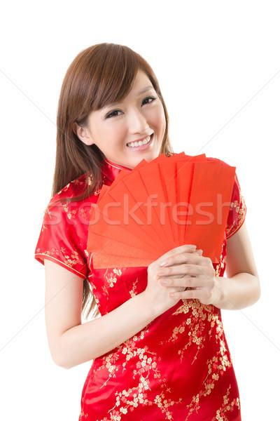 Stok fotoğraf: Kırmızı · zarf · Çin · kadın · çekici · elbise