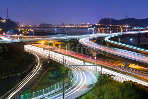 夜景 車 光 道路 有名な 橋 ストックフォト © elwynn