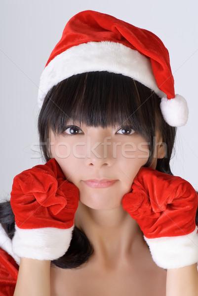 Foto stock: Doce · natal · menina · asiático · retrato