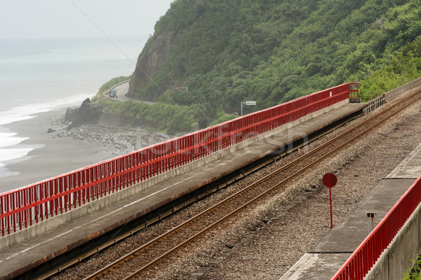 Kustlijn spoorweg Taiwan asia weg bouw Stockfoto © elwynn