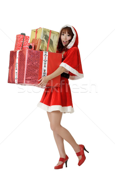 Happy Christmas woman with gifts Stock photo © elwynn