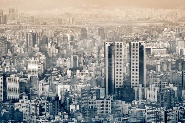 Névoa cidade cenário moderno edifícios manhã Foto stock © elwynn